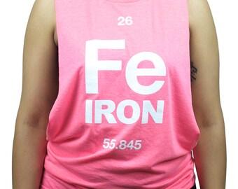Women's Iron Element Cut Off Tank Top Shirt - Pink