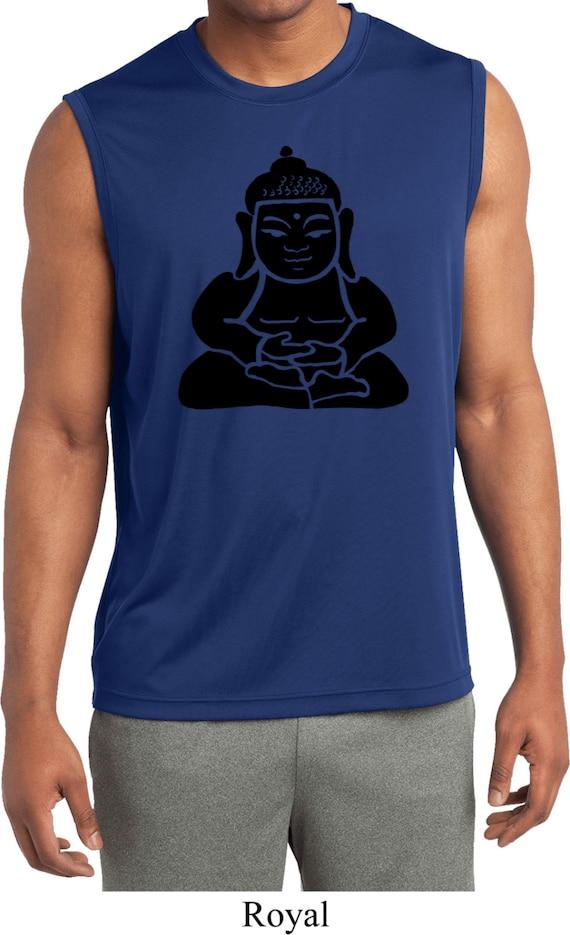 Men 39 S Yoga Shirt Shadow Buddha Sleeveless Moisture Wicking
