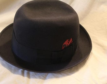 Vintage Black New Yorker Fedora Trilby  Dress Hat Size 7 1/8