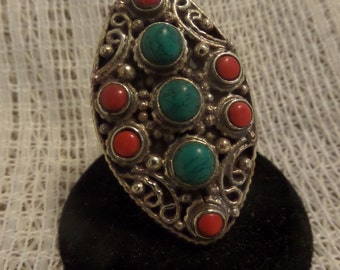 Statement Ring- Silver, Turquoise and Coral Size 7 1/2