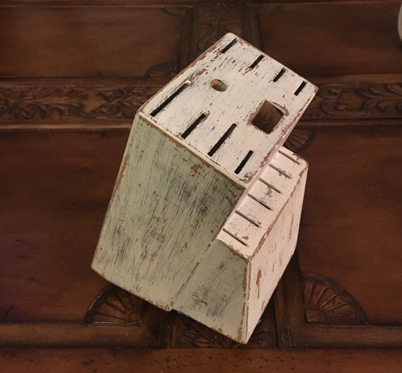 Painted Knife Block: Large Hand Painted Wooden Knife Block Shabby Chic Rustic