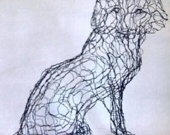 Life-Size 3D Fox Wire Sculpture by Elizabeth Berrien