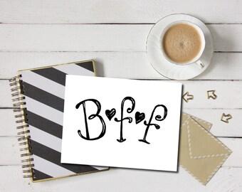 BFF Card - Best Friends Forever Card, Best Friend Greeting Card, Card For Best Friend, BFF Greeting Card, BFF Printable, Friend Card