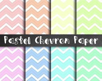 Pastel Chevron Paper - Chevron Scrapbook Paper, Digital Paper Pack, Pastel Zig Zag Papers, Digital Craft Paper, Pastel Print, Scrapbooking
