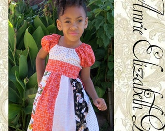 Apricots & Persimmon Stripwork Peasant Dress - Girls Dress Sizes 6mo - 8