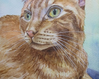 Custom Pet Portraits, favorite animals, original watercolor portrait pets to order, Red-headed cat