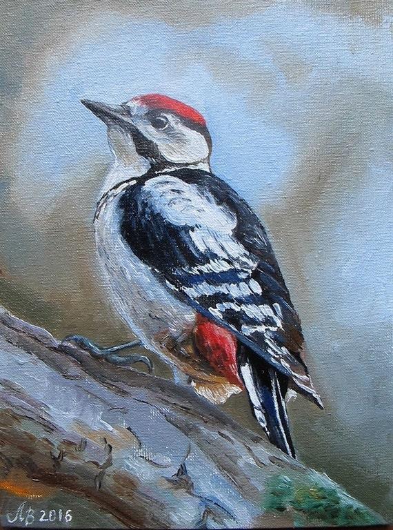 Woodpecker. Original oil painting handmade 5 x7