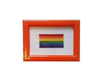 LGBT Flag framed cross stitch