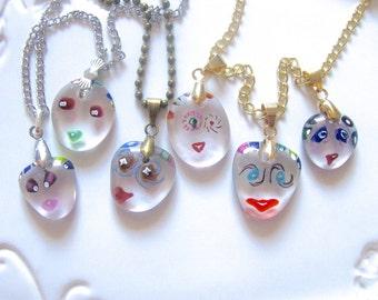 Murano Glass Necklace, Murano Glass Pendant, Venetian Glass Necklace, Funny Face Necklace, Glass Pendant