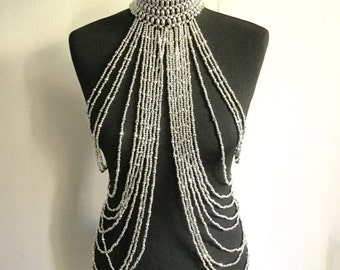 Body chain / necklace body / tribal fusion / silver / Burning man costume / body jewelry / Boho chic / bellydance / burlesque / body harness /