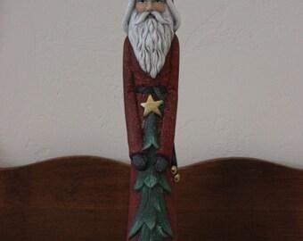 Ceramic Santa,tall,thin with tree