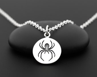 Spider Necklace, Spider Jewelry, Insect Necklace, Spider Charm, Insect Jewelry, Creepy Jewelry, Halloween Necklace, Spider Pendant