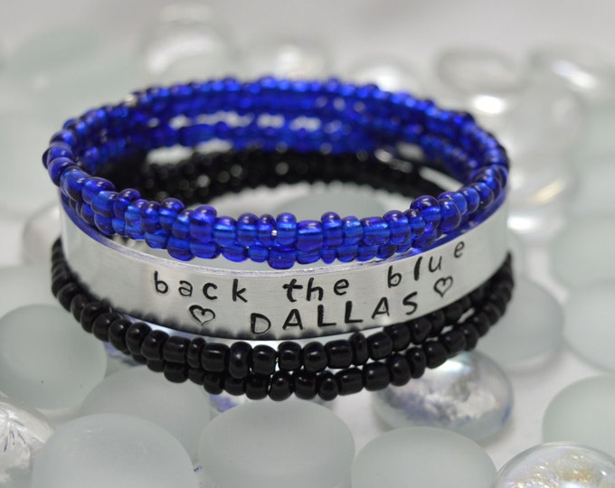 Back the Blue ((Add Your City, Name, or Badge/Station Number FREE)),Hand Stamped Cuff Bracelet, Personalized Cuff Bracelet, Back The