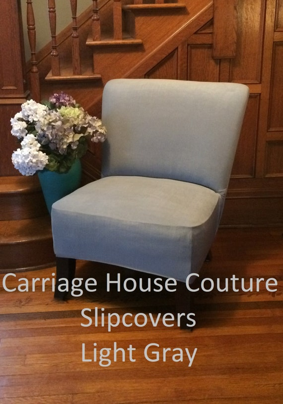 Slipcover Light Gray Suede Chair Cover For Armless Chair