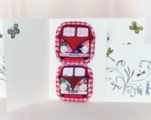 OOAK Minivan Brooch, Vw Campervan Badge Set, on SALE!!