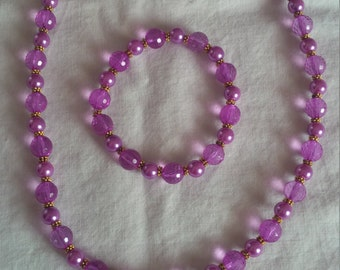 Plum Beaded Jewelry Set   (#525)