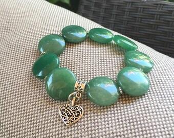 Ladies green aventurine bracelet