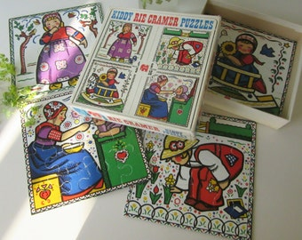 Four Vintage Children's Puzzles by Rie Cramer made by Jumbo Holland 70s