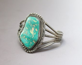 Sterling Silver Signed Green Turquoise Native American Old Pawn Navajo Cuff Bracelet