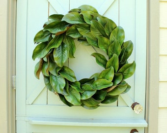 Magnolia Wreath ~ Fixer Upper Decor ~ Spring Wreath ~ Magnolia Leaf Wreath ~ Year Round Wreath ~ Wedding Decor ~ Farmhouse Wreath