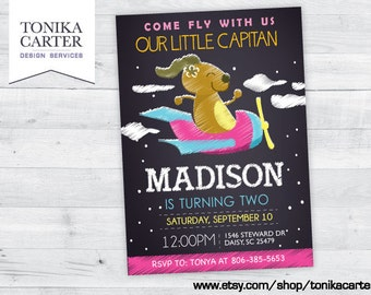 Airplane Birthday Invitation (girl)