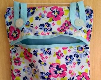 Hanging Peg Bag with applique washing line design, clothes peg bag, fabric peg bag,   housewarming gift, new home present, useful gift,