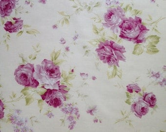 Lecien Rococo & Sweet Spring 2015 fabric.  Lilac roses on winter white background.  Listing is for one yard.