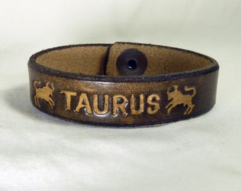 Taurus Real Leather Bracelet with Snap Button