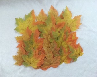 25 Artificial Maple Autumn Leaves Autumn Leaves Yellow Brown Fall Colors Scrapbooking Crafting Embellishments Wreaths Maple Leafs