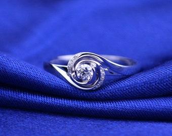 Eye of Wind 18k White Gold Diamond Ring Band Engagement Wedding Birthday Anniversary Valentine's