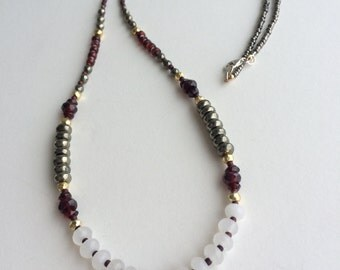 Garnet and Gemstone Layering Necklace, Sundance Style, Bohemian Necklace, January Birthstone