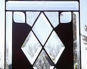 FREE SHIPPING!!! Victorian Deep Plum Glue Chipped Beveled Stained Glass Panel By Nickole Schmidt For WimsicalGlassography