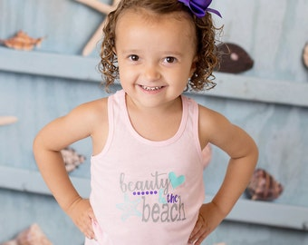 Beauty & the Beach Pink Racerback Tank Top Shirt - (0-24 months) (2T-14) - vacation shirt, beach shirt, beach tank, summer shirt, summer