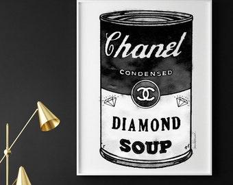 Fashion pop art, black and white, 24X36 inches, watercolor, pop art, diamond, soup, fashion print, fashion poster,bold, modern,statement art
