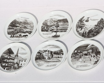 Furstenberg Plate, Decorative Coaster, German Plate, Porcelain Plate, 6 Coasters Plates, Black and White Plate, Bad Hofgastein Plate,
