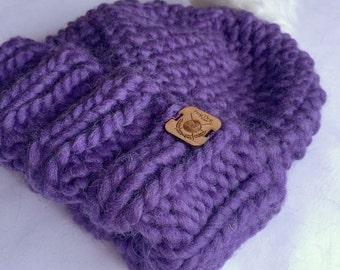 Wooly Bear Women's Seed Stich Bulky Knit Beanie & Faux Fur Pom Pom | Hand Knit / Toque Hat | Oversized Pom Pom / Knitted / Winter / Fall