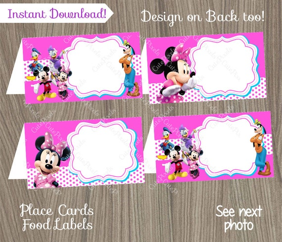 Minnie Mouse Place Cards Minnie Mouse Food Labels Minnie