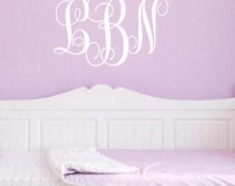 Personalized, Monogram, Initials, Vinyl, Wall, Decal, Nursery, Bedroom, Girls, Teenage, Adult, Living Room, Couple