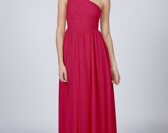 Matchimony Raspberry One Shoulder Long Bridesmaid/Prom Dress