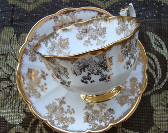 Royal Albert Bone China England - Vintage Tea Cup and Saucer - Avon Cup with Gold Floral Scrolls and Brushed Gold Trim