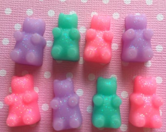 Pastel Gummy Bear Cabochons / Pastel Goth Creepy Cute Flatbacks / Kawaii Candy Cabochons / Fake Candy / Pastel Flat Backs / Decoden Candy
