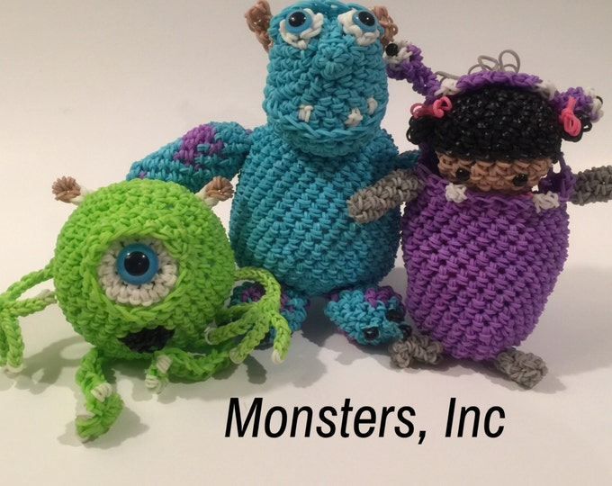Disney's Monsters Inc Combo Play Pack Rubber Band Figures, Rainbow Loom Loomigurumi, Rainbow Loom Disney