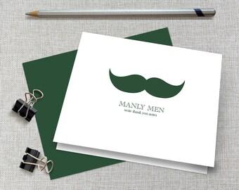 Men's Mustache Thank You Cards / Men's Mustache Note Cards / Masculine Stationery / Masculine Stationary / Men's Mustache Thank You Notes