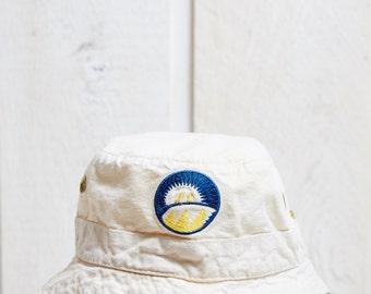 90s Cream White Cotton Bucket Hat • S