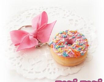 Donut Keychain, Polymer Clay Donut, Kawaii Donut Charm, Miniature Food Jewelry, Food Keychain, Candy Keychain, Mini Food, Cute Keychain
