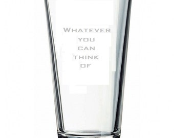 Hand etched custom design pint glass