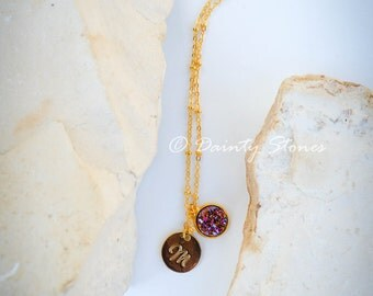 Gold Initial with purple druzy  pendant on 18K Gold Plated Necklace/great gift/very pretty and standout sophisticated jewelry piece!