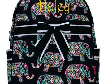 Monogram Backpack Quilted Elephant Navy Trim