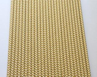 LIGHT BROWN CHEVRON Paper Straws / Party Straws / Party Decor / Chevron Straws / Paper Party Straws / Fall Straws / Drinking Straws