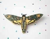 Deaths Head Moth brooch - laser cut wood, from vintage illustration. Death's Head Hawk Moth, Acherontia badge / pin